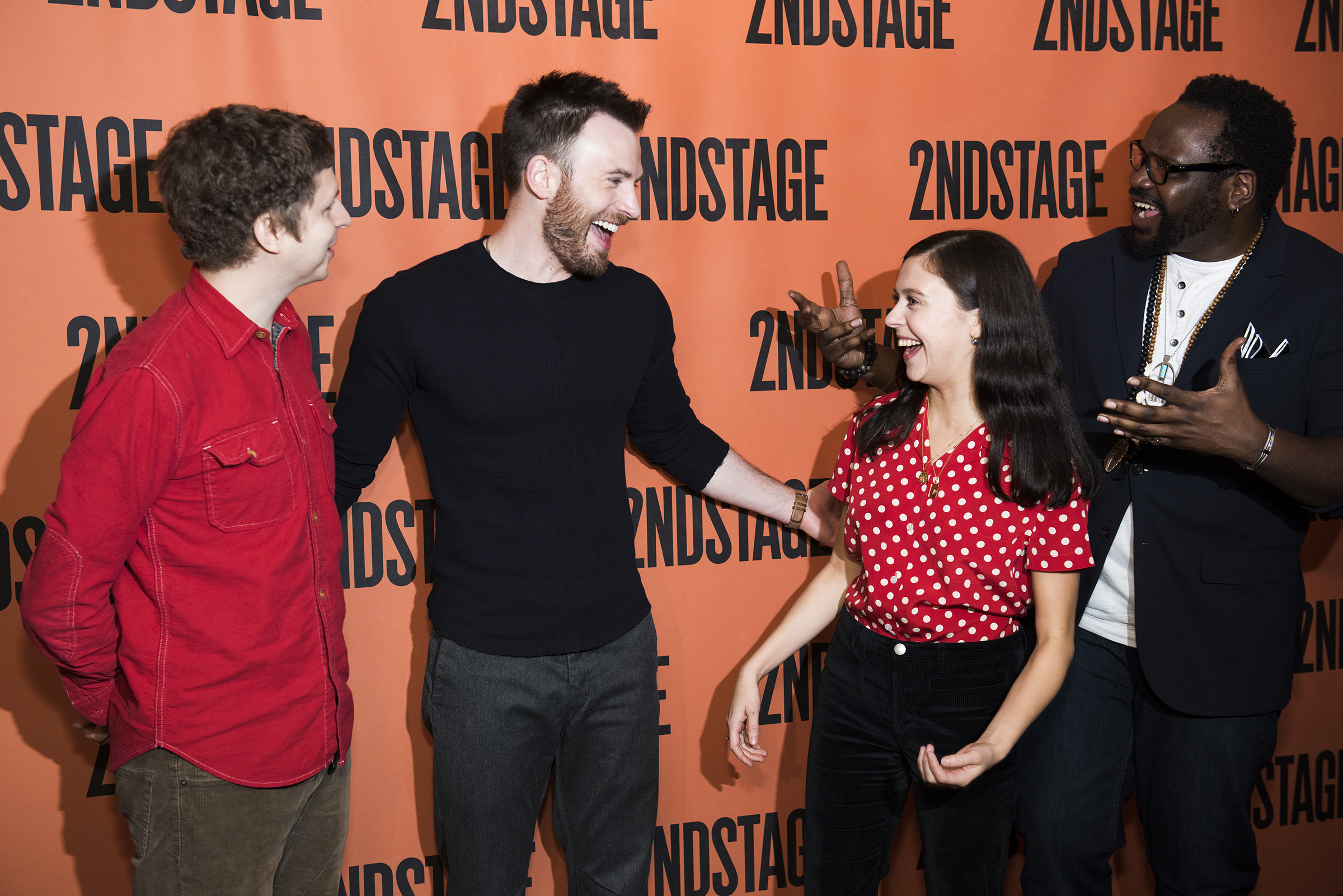 Chris evans and the cast of lobby hero meet the press todaytix chris evans bel powley and brian tyree henry photographed by jenny anderson m4hsunfo