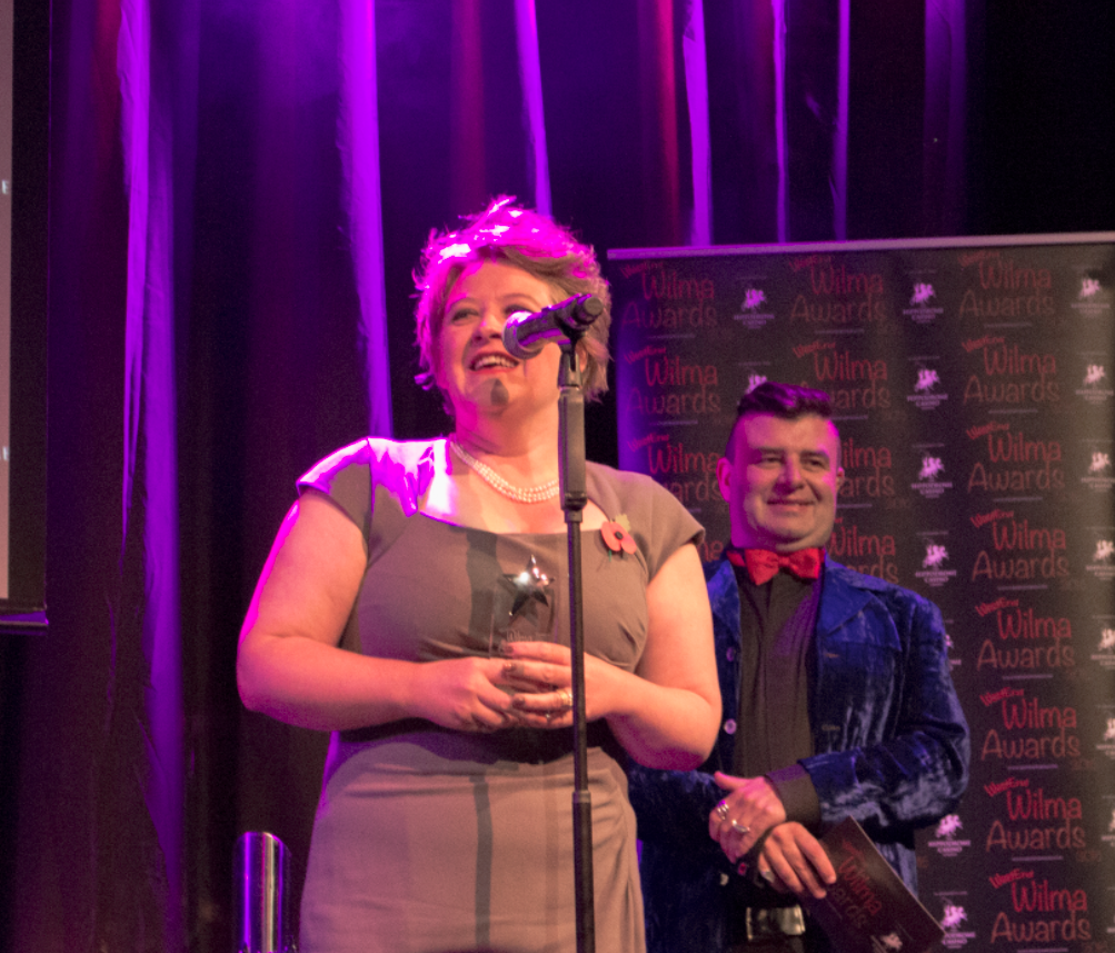 Claire Machin accepts her award for her role in Titanic.