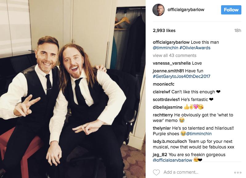 Photo Credit: Gary Barlow's Instagram
