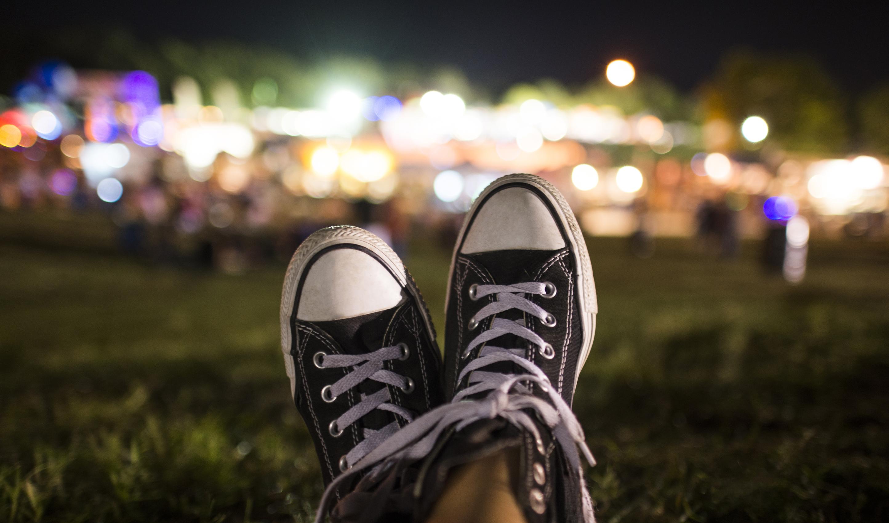 Relaxing at an evening festival