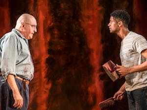 """Photo Credit: Alfred Molina and Alfred Enoch in """"Red"""" by Johan Persson."""